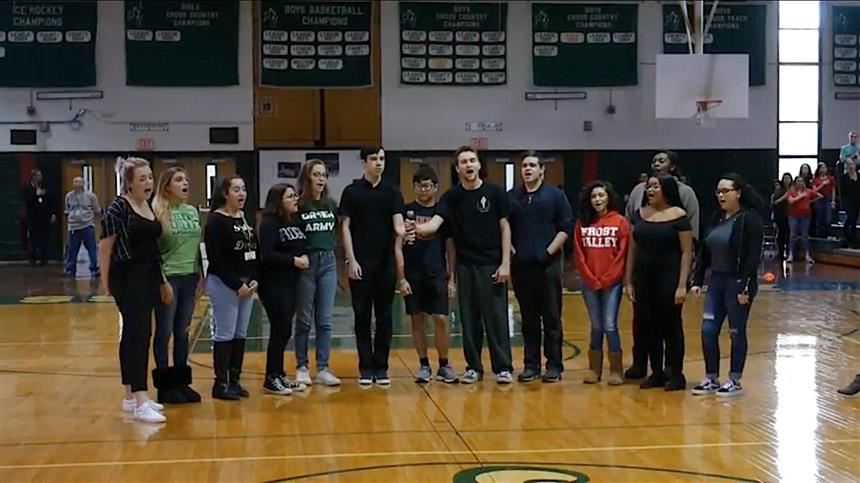 Hornet Harmonics Singing National Anthem; photo credit: PVTV Crew