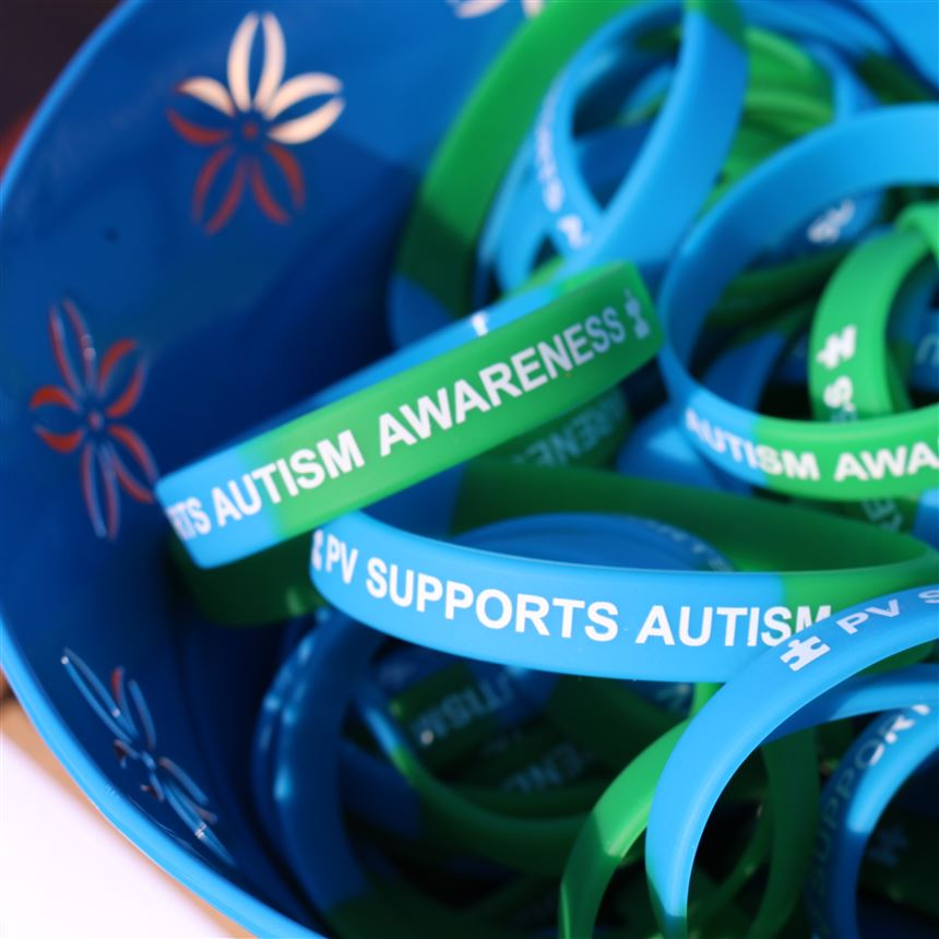 Austim Awareness Bands handed out at the walk; photo credit: Mrs. Russo