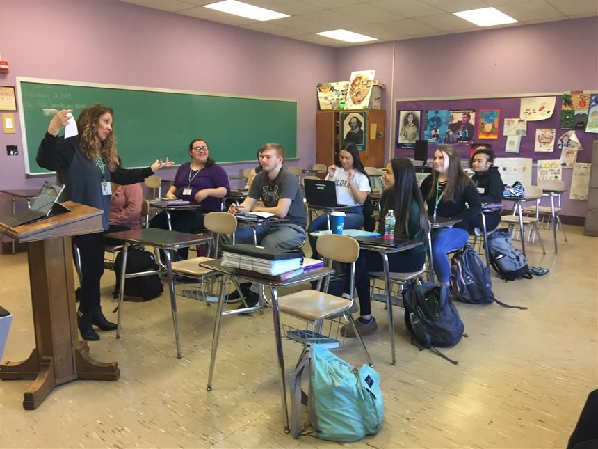 Ms. Dellanno's English II Honors Class Discuss Say Something Week; Photo Credit Raima Islam '21