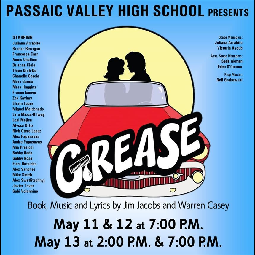 Promotional poster for Grease; property of Theater Department