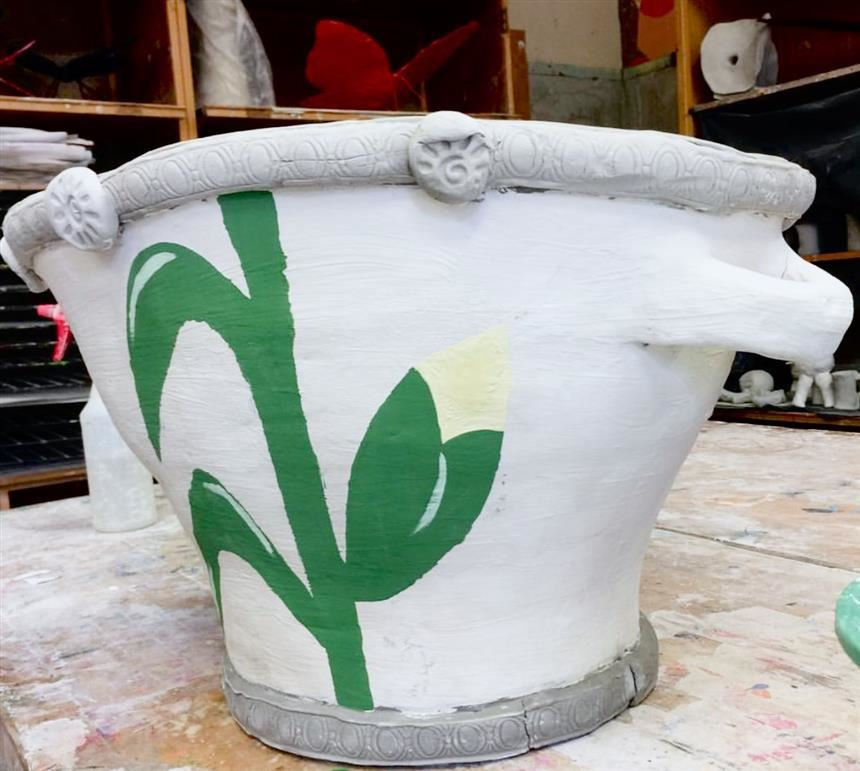 One of the ceramic pots made by the ceramics classes; property of the Green Scene twitter