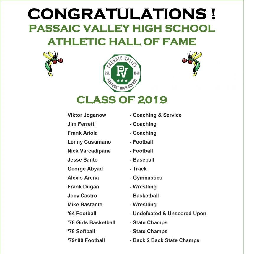 Passaic Valley High School Athletic Hall of Fame Class of 2019 Announced!