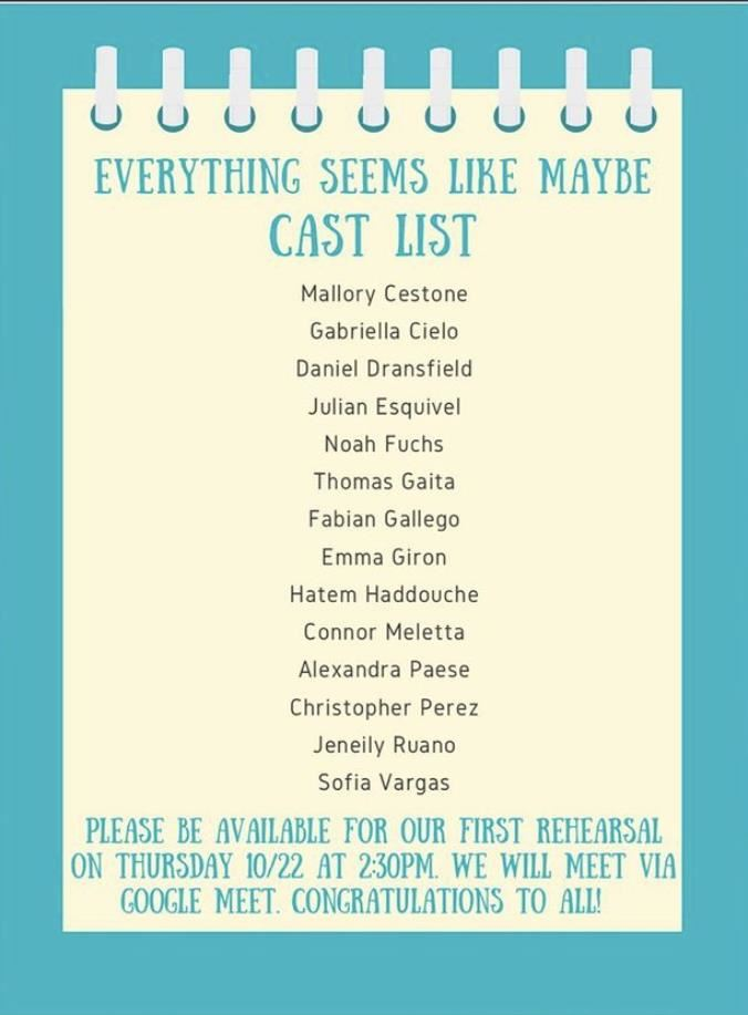 Cast List; Property of @PVHSTheater