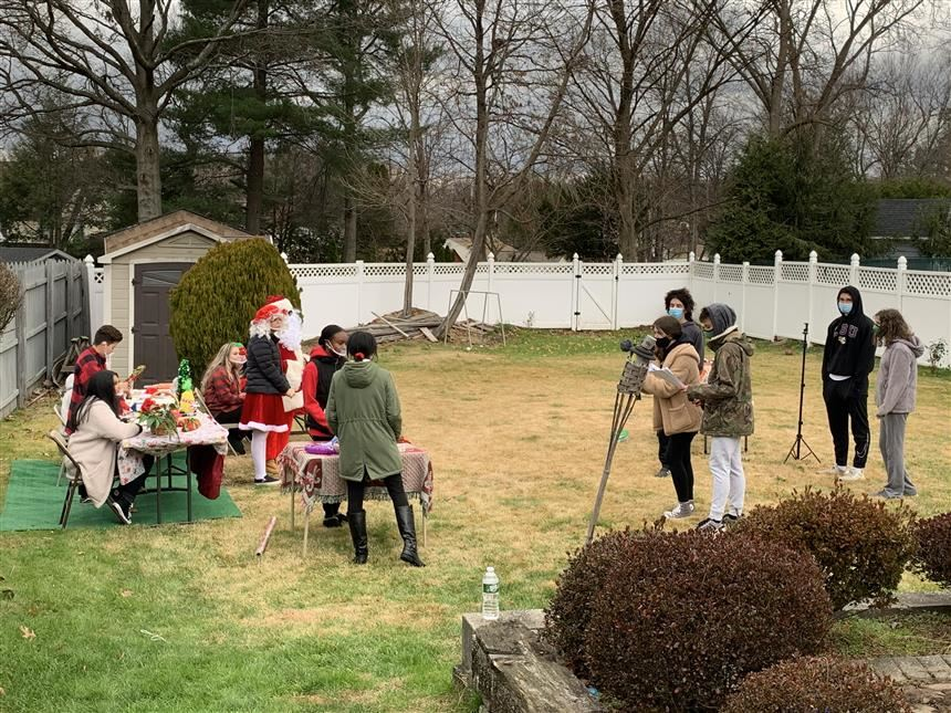"Cast and crew of ""What the Elf?"" preparing to film; photo credit: Christopher Perez"