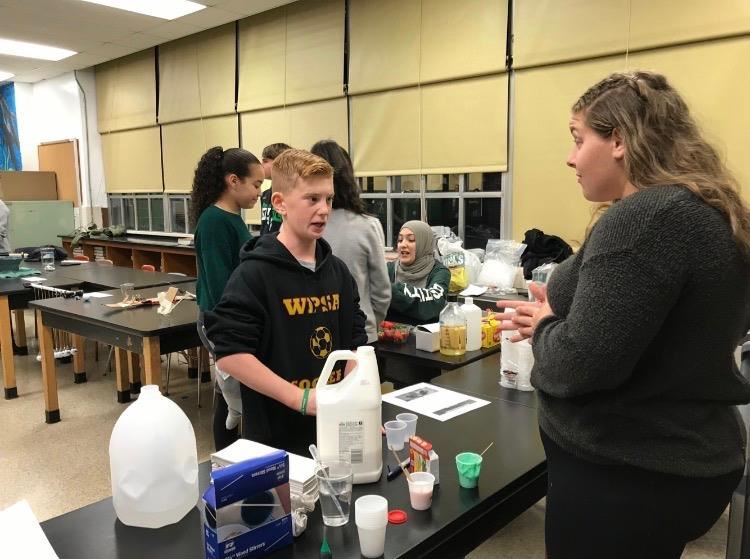 Students visiting the science lab; photo credit: Mrs. Elena Shtraks