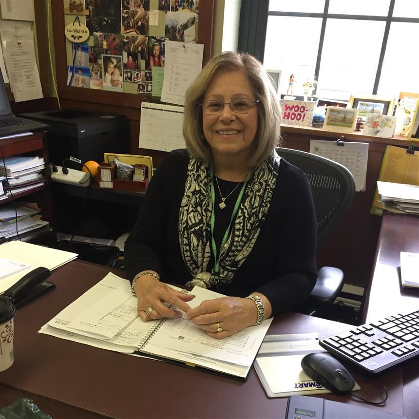 Ms. Perosi at her desk in the Guidance Office
