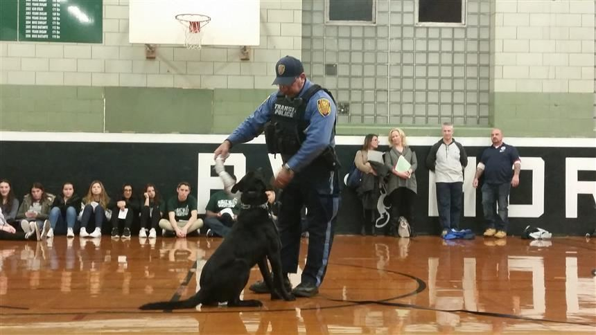 Little Falls police department showing off their canine unit during the Criminal Justice presentation; taken by Mr. Van Ess