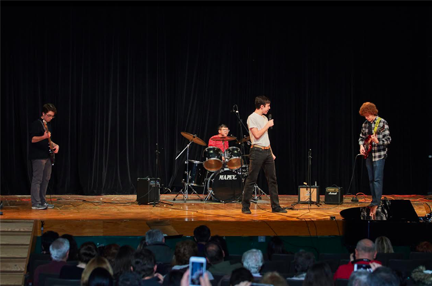 """The Boys"" on stage; photo credit: Yearbook Staff"