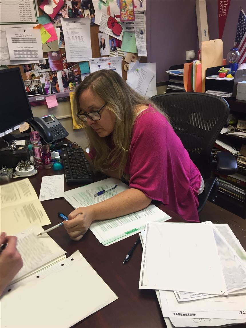 Ms. Jennifer Shue working in her office; photo credit: Raima Islam '21