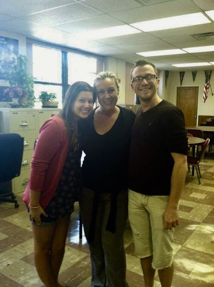 Michelle Bosco, Ms. Jennifer Shue, and Dan Haycook '05 in Campbell Hall; photo courtesy of Ms. Shue