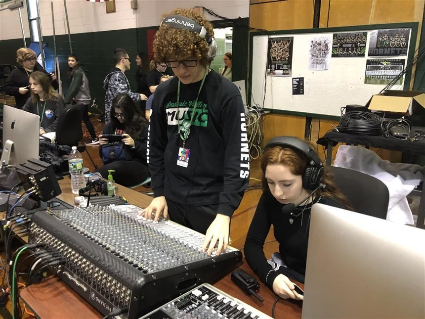 PVTV crew testing audio; photo credit: Juliana Turdo '20