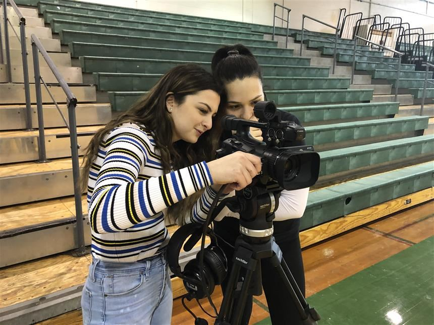 PVTV crew testing camera; photo credit: Juliana Turdo '20