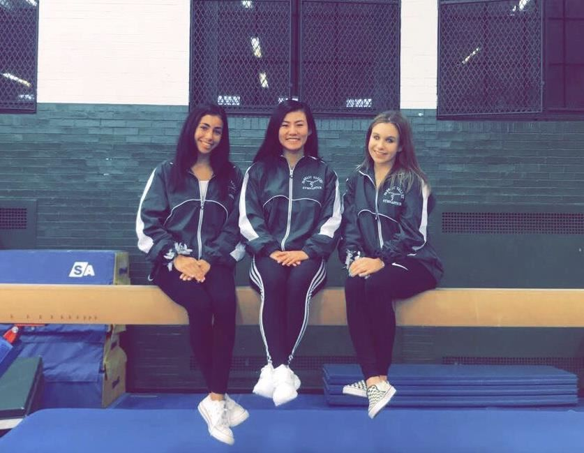 Varsity Gymnastics Captains 2018: Binetti '20, Dassinger '19, Giuriceo '20; photo credit: Patricia Giuriceo