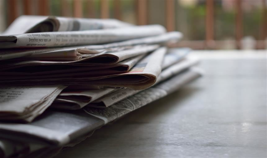 Pile of newspapers; stock photo