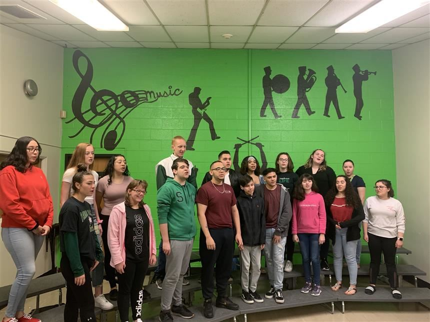 Choir practicing for the Pops Concert; photo credit: Ms. Vanderstreet