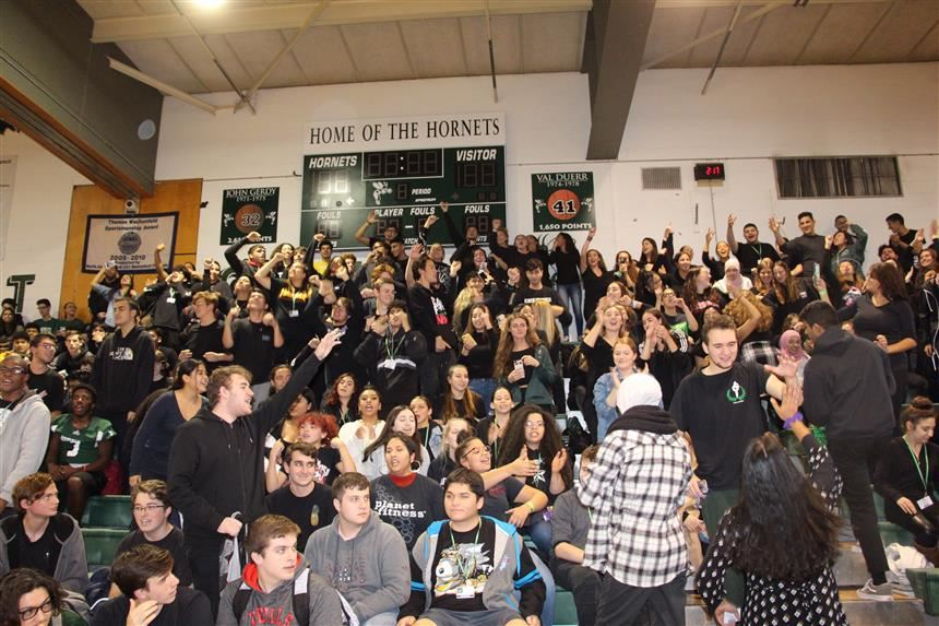 Seniors Cheering at Pep Rally; photo credit: Sophia Ayoub