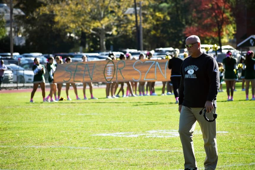 Coach Parlavecchio before Homecoming; photo credit: Cornelius Van Ess