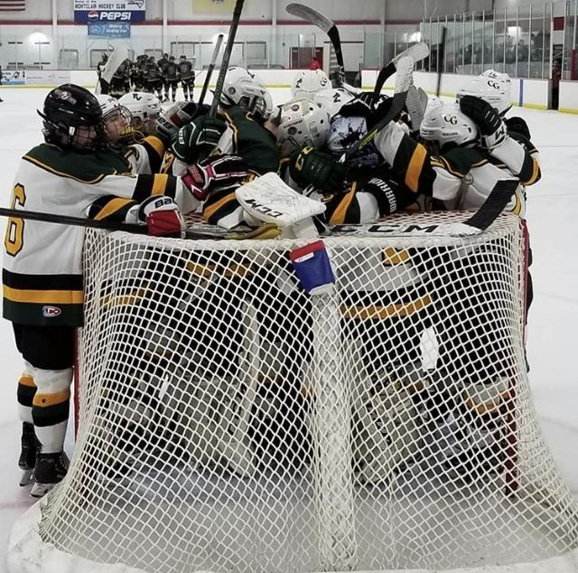 PVCG Hockey Team celebrating a victory during the season