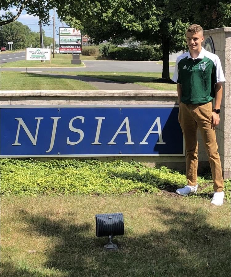 Colby Sellitto '21 at the NJSIAA headquarters; photo courtesy of Mr. Benvenuti