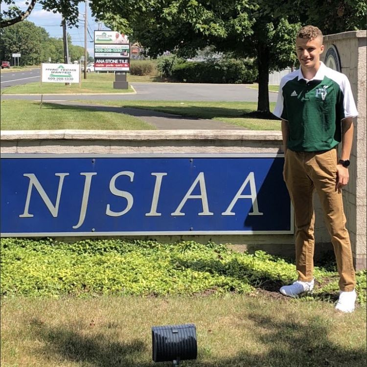 Colby Sellitto '21 at the NJSIAA headquarters; photo courtesy of Mr. Joseph Benvenuti