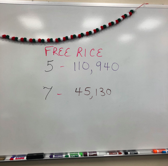 Totals from Period 5 and 7; photo credit: Bushra Choudhury '19