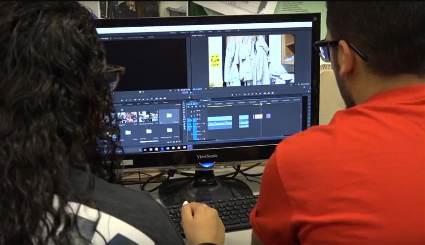 Students editing footage; photo credit: Stephanie Roberts