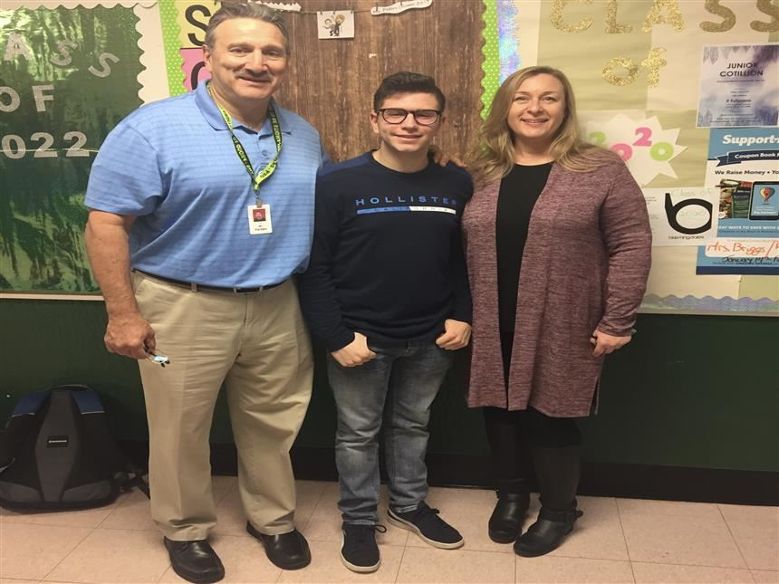 Brian Katat '20 with Ms. Jennifer Shue and Mr. Bill Pantale; photo credit: Raima Islam '21