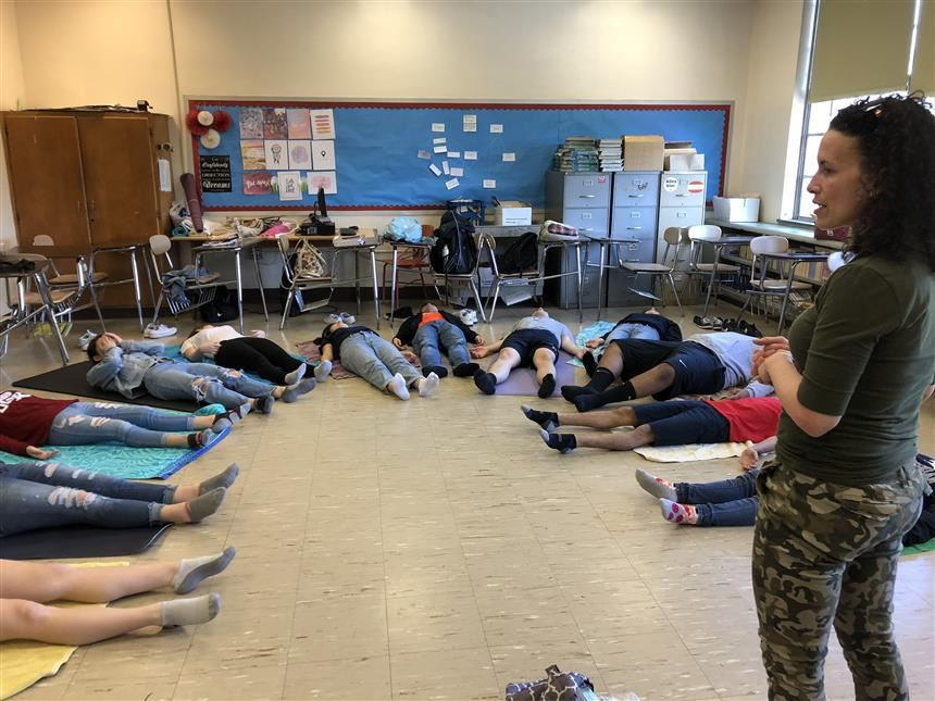 AP English class during meditation exercises. photo credit: Peters