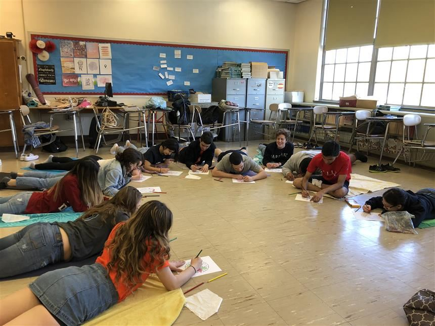 AP English class during coloring exercises. photo credit: Peters