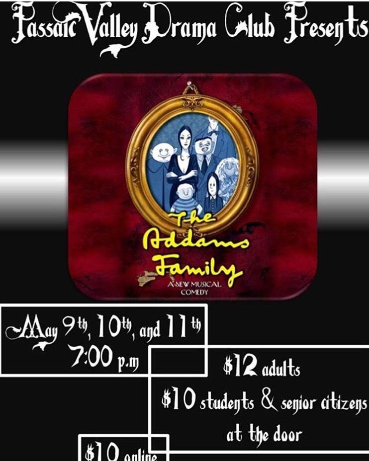 A photo of the Addams Family Flyer; Photo Credit: @pvhs.theater (via instagram)