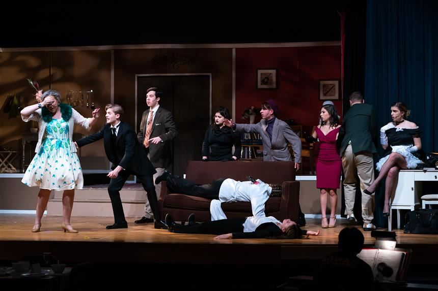 Clue cast dealing with the double murder mystery; photo credit: Chris Krusberg
