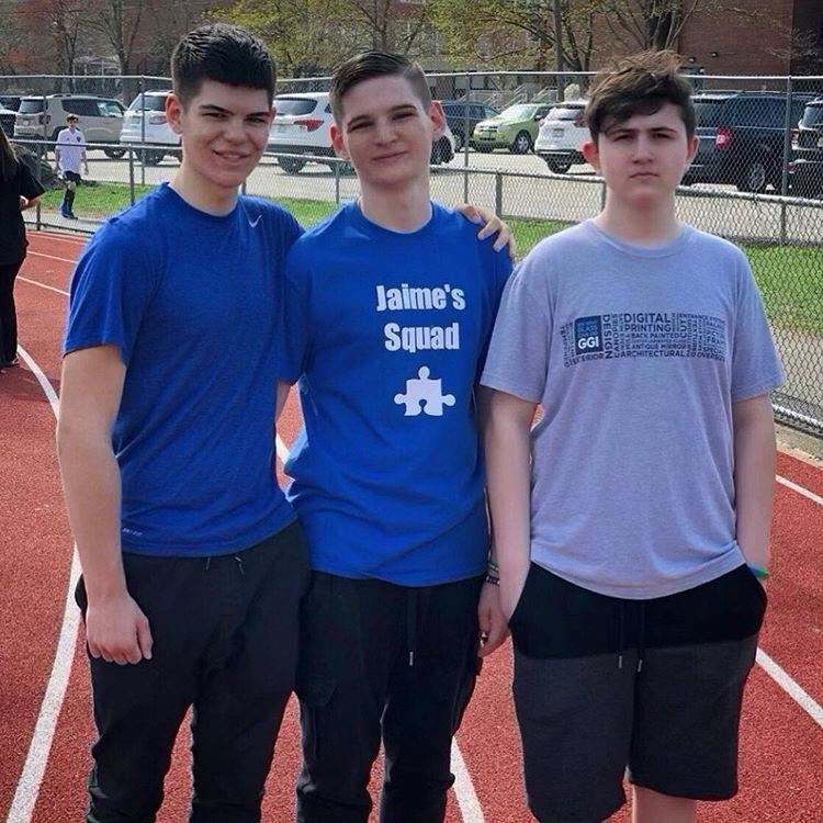 Joseph Janssen '21, Jaime Janssen, and Andrija Gavrilovic '21 at the Autism Walk; photo courtesy of Joseph Janssen '21