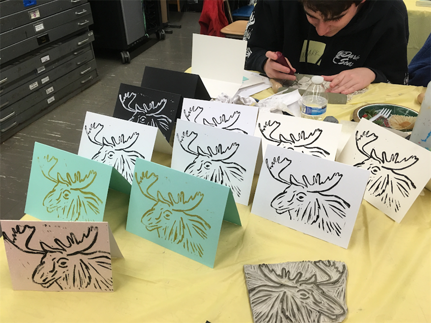 Print Workshop Holiday Cards; photo credit: Ms. Ingraham