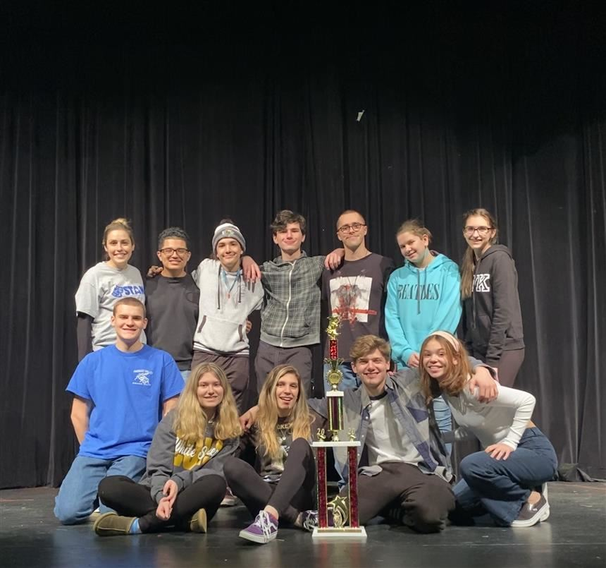 Student performers with STANJ trophy; photo credit: Ms. Shue