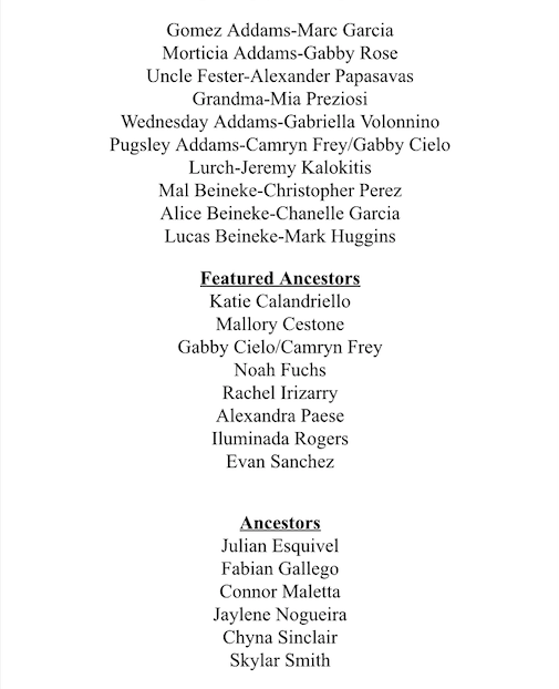 "Cast list for ""The Addams Family""; photo credit: Ms. Jennifer Shue"
