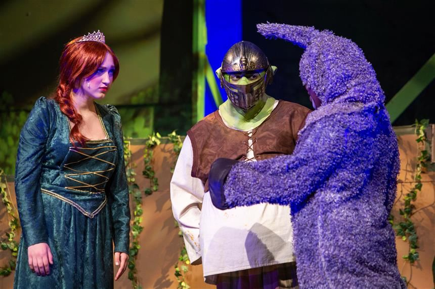 Shrek, Fiona, and Donkey; photo credit: Chris Krusberg